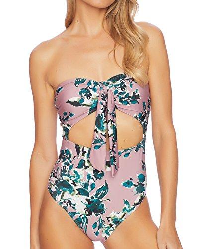 Splendid Women's Watercolor Floral One Piece Swimsuit, Pink, L by Splendid