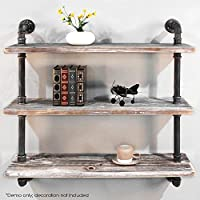 Diwhy Shelves Industrial Shelf with Pipe TubingIndustrial DIY Retro Wall Mount Iron Pipe Shelf Storage Shelving Bookshelf (36)(HEAVY DUTY)