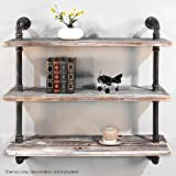 Diwhy Shelves Industrial Shelf with Pipe TubingIndustrial DIY Retro Wall Mount Iron Pipe Shelf Storage Shelving Bookshelf (36'')(HEAVY DUTY)