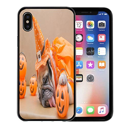 Semtomn Phone Case for Apple iPhone Xs case,Cute Pug Dog Costume of Happy Halloween Day Sleep Rest on Sofa Plastic Pumpkin Jack O Lantern for iPhone X Case,Rubber Border Protective Case,Black for $<!--$9.99-->