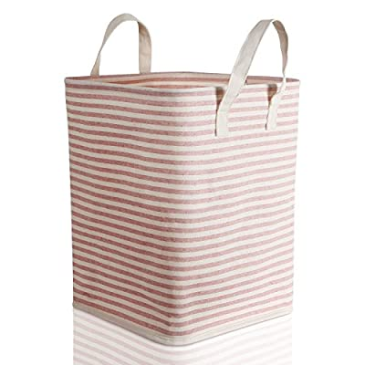 Lifewit Laundry Hampers Baskets with Handles for Kid's Boy or Girl's Room, Baby Nursery, Toy Storage Basket and Organizer Bins for Children, Water-Resistant - STURDY: The opening is implemented with an iron wire frame to sustain the shape of the storage basket which also has reinforced seams for added strength. STYLISH: Adorable pink-and-white stripe patterns add a unique touch to your room. In addition, the lightweight construction and foldability allow for easy storage. MULTI-FUNCTIONAL STORAGE: The foldable laundry storage basket is suitable for keeping child clothes, books, toys, sundries or temporarily storing dirty clothes. - laundry-room, hampers-baskets, entryway-laundry-room - 517HuNxZ0UL. SS400  -