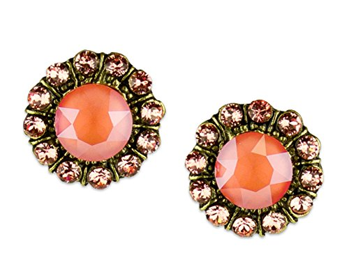 Swarovski Coral Peach Crystal Earrings - Anne Koplik Antique Brass Light Coral & Rose Peach Swarovski Crystal Mila Princess Post Earrings