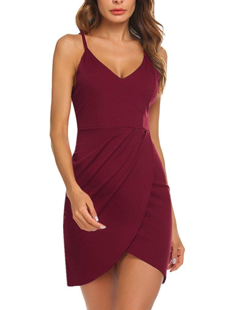 SASA FASHION Women's Elegant Spaghetti Straps Sexy Deep V Neck Sleeveless Bodycon Party Slim Tight Dress for Women Wine Red M