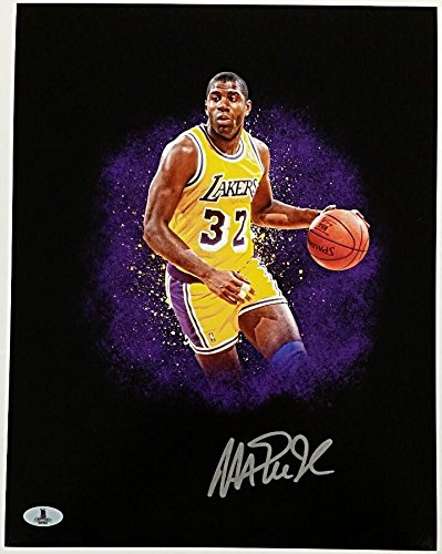efe2b3612eb Magic Johnson Autographed Signed Memorabilia 11X14 Photograph Auto Showtime Lakers  Hall of Fame Beckett Bas COA at Amazon's Sports Collectibles Store