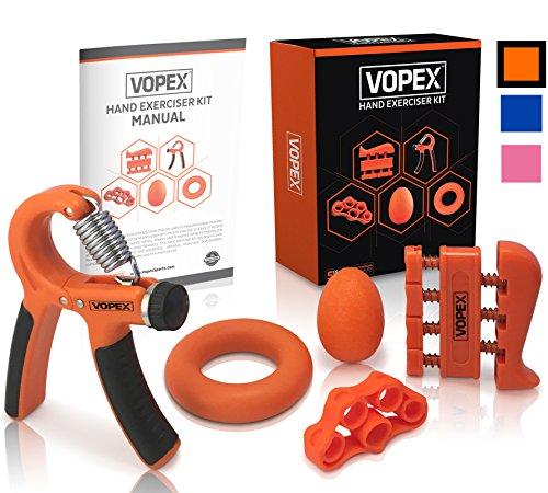 UPC 680167555959, Hand Grip Strengthener Exerciser Kit (5 Pack) - Adjustable Hand Grips, Finger Strengthener, Hand Exerciser grip Ring, Finger Stretcher & Grip Strengthener ball by VOPEX (Orange)