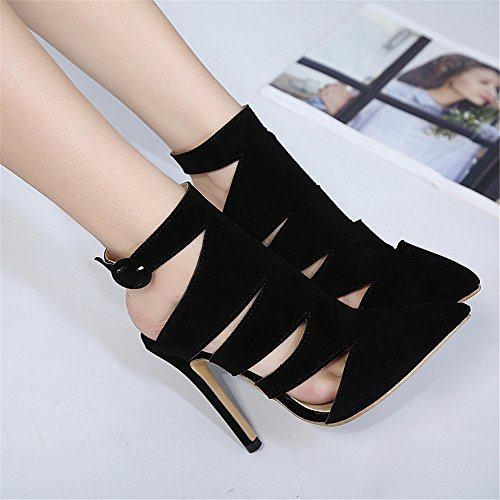 Heel Evening Sandals Sandals Size Ladies Shoes Party Cut Black high Out Lace up Strappy Prom Womens PgxE68wq8