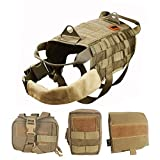 OneTigris Tactical Dog Molle Vest Harness Training Dog Vest with Detachable Pouches (Tan, Medium)