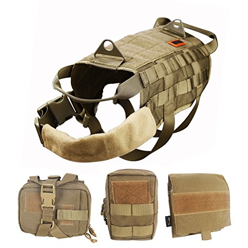 OneTigris Tactical Dog Molle Vest Harness Training Dog Vest with Detachable Pouches (Tan, X-Large) ()