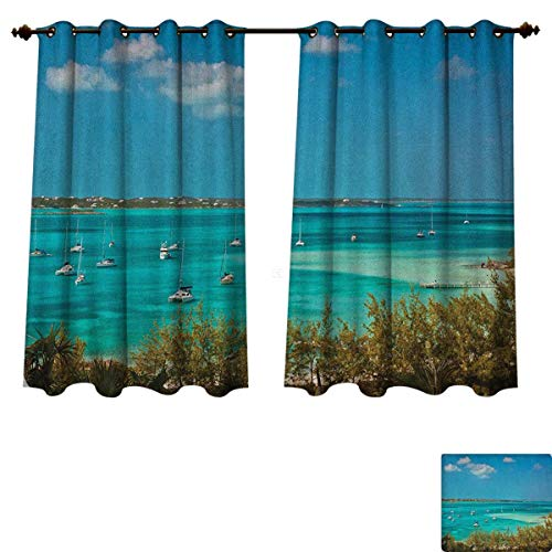 Astoria Clear Crystal (PriceTextile Sailboat Blackout Thermal Backed Curtains for Living Room Sailboats and Power Boats Anchored in Crystal Clear Waters of The Bahamas Window Curtain Fabric Teal Blue Green Size W55 xL45)