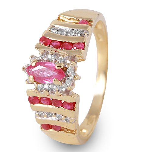 0.7 Carat Natural Ruby Diamond 10K Yellow Gold Engagement Ring for Women Size 7