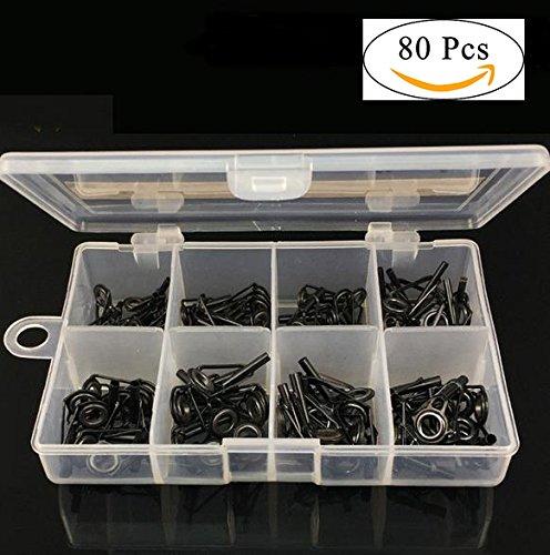 80pcs/Pack Ringe Guide der Fischerei Zubehör Set Angelrute-Reparatur-Edelstahl und Keramik Set Basteln mit Schachtel Kunststoff VGEBY