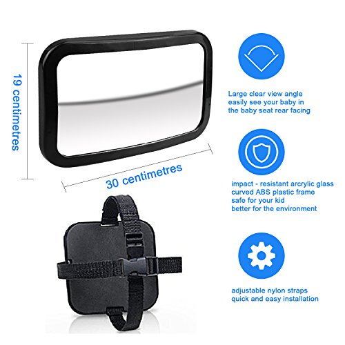 Review Baby Car Mirror, Aodis Premium Back Seat Mirror View Infant/Toddler In Back Seat 360 Degree Adjustable Best Car Seat Convex Mirror For Baby View.(Black)