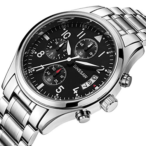 Men Quartz Sports Military Watch Luxury Brand Stainless Steel Calculagraph Luminous 100M Waterproof Watches