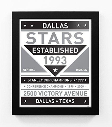(Dallas Stars Black and White Modern Team Print Framed)