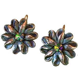 Victorian Zinnia Floral Earrings - Dark Vitrail Swarovski Crystals 28