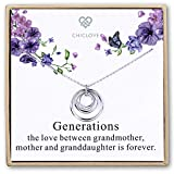 Generations Necklace - 3 Generations, 3 Circle Necklace Grandma Necklace Interlocking Circles, for Grandma, Grandma Gift