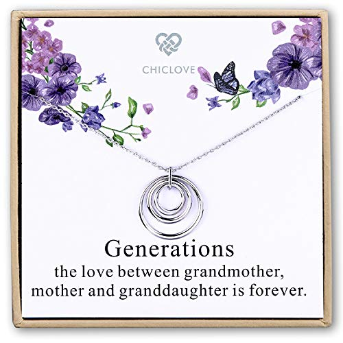 CHICLOVE Generations Necklace - 3 Generations, 3 Circle Necklace Grandma Necklace Interlocking Circles, for Grandma, Grandma Gift