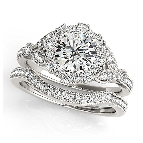 14K White Gold Unique Wedding Diamond Bridal Set Style MT50868