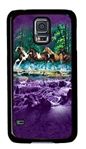 Samsung Galaxy S5 Case,Spring Creek Run Horse PC Hard Plastic Case for Samsung S5/Samsung Galaxy S5 Black