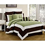Duck River Textiles 8 Piece Spain Hotel Quilted Overfilled Comforter Set, Sage/Chocolate, Queen
