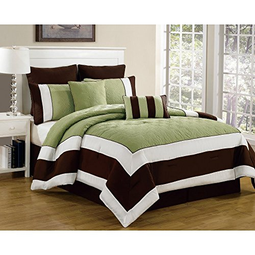 Duck River Textiles 8 Piece Spain Hotel Quilted Overfilled Comforter Set, Sage/Chocolate, Queen by Duck River Textiles