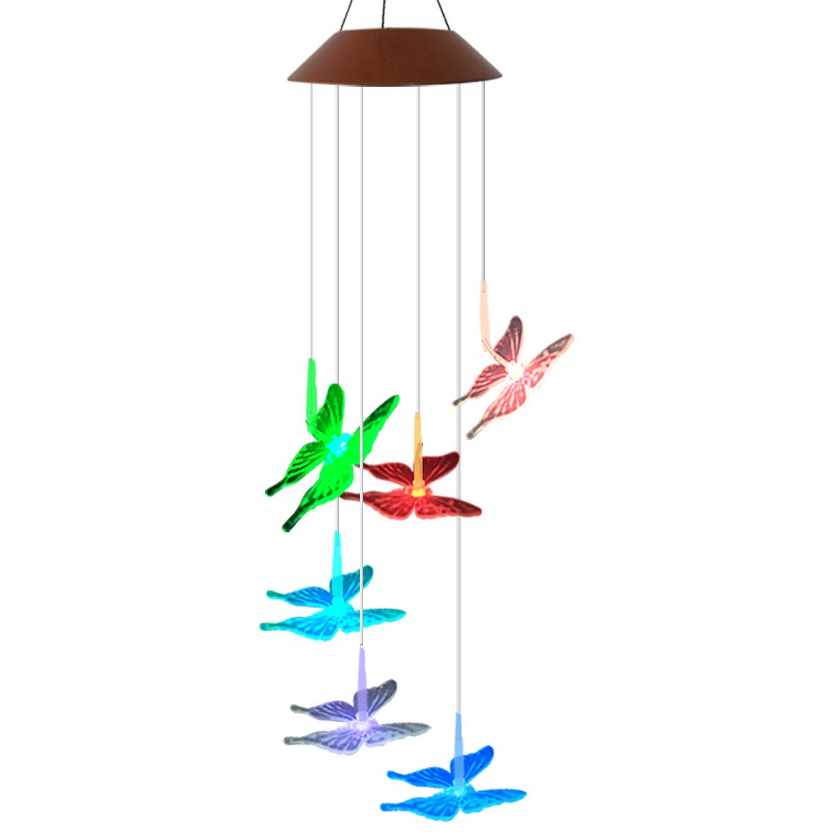 LED Solar Wind Chime - Outdoor Waterproof Solar Powered LED Changing Light Color Mobile Six Butterfly Wind Chimes For Home,Party,Festival Decor,Valentines Gift,Night Garden Decoration (Butterfly) Youyuan
