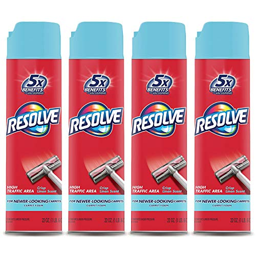 - Resolve High Traffic Carpet Foam, Crisp Linen 88 oz (4 Cans x 22 oz), Cleans Freshens Softens & Removes Stains