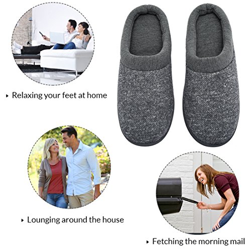 Women's Comfort Slip On Memory Foam French Terry Lining Indoor Clog House Slippers (Medium / 7-8 B(M) US, Light Gray)