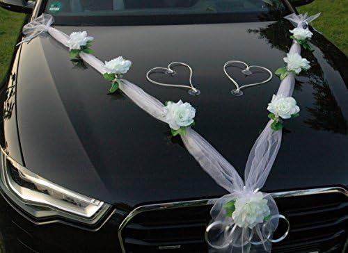 satinato 35/×17cm Kentop Fiocco per auto per matrimonio bianco decorazione per specchietto retrovisore o maniglia della portiera