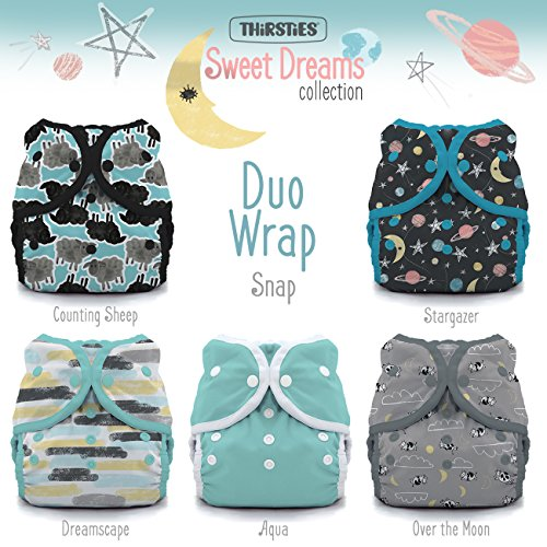 Prefold Package - Thirsties Package, Snap Duo Wrap, Sweet Dreams Size 2