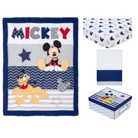 4 Piece White Blue Orange Mickey Mouse Pluto Crib Bedding Set, Disney Themed Newborn Nursery Bed Set Infant Child Iconic Character Cartoon Animated Striped Zigzag Pattern Blanket Comforter, Polyester