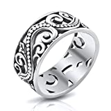 MIMI Sterling Silver 9MM Antique Bali Filigree Scroll Band Ring