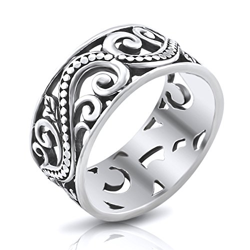 Bali Band Ring (Sterling Silver 9MM Antique Bali Filigree Scroll Band Ring - Size 9)