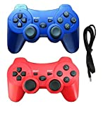 2 Pack Wireless Bluetooth Controller with Charger Cable ( Blue and Red – Compatible with Playstation 3 PS3 ) Review