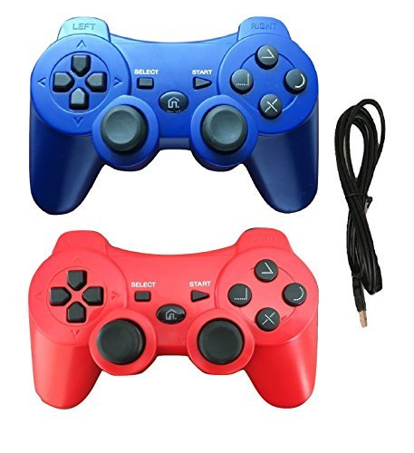 (2 Pack Wireless Bluetooth Controller with Charger Cable ( Blue and Red - Compatible with Playstation 3 PS3 ))