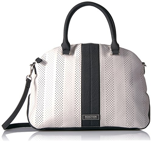 Kenneth Cole Reaction Annabelle Striped Dome Satchel, Stripe Perforated/White (Striped Dome)