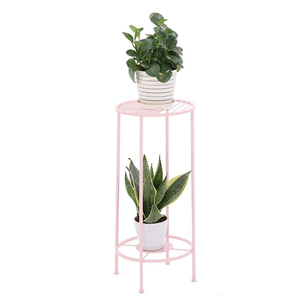 HU Semplice da Terra in Ferro battuto Dorato Mini Stand da Pavimento Balcone per Fiori da Interno 30cmX70cmX32cm (colore   rosa)