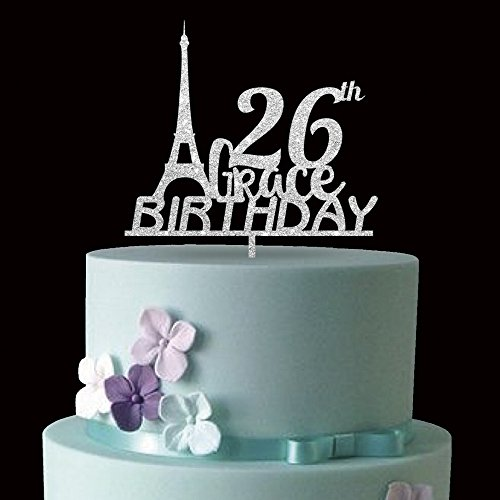 KISKISTONITE Double Sided Glitter 26th Eiffel Tower Happy Birthday Cake Toppers Decorations Tool Party Supplies (26th Silver)