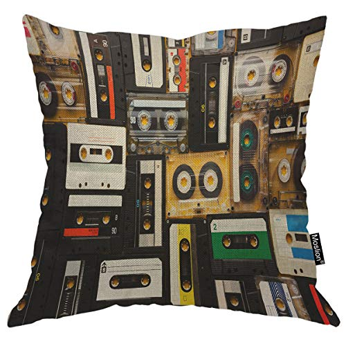 Moslion Vintage Decorative Pillow Case Audio Record Cassette Tapes Throw Pillow Cover Square Accent Cotton Linen Home 18x18 Inch Black Beige