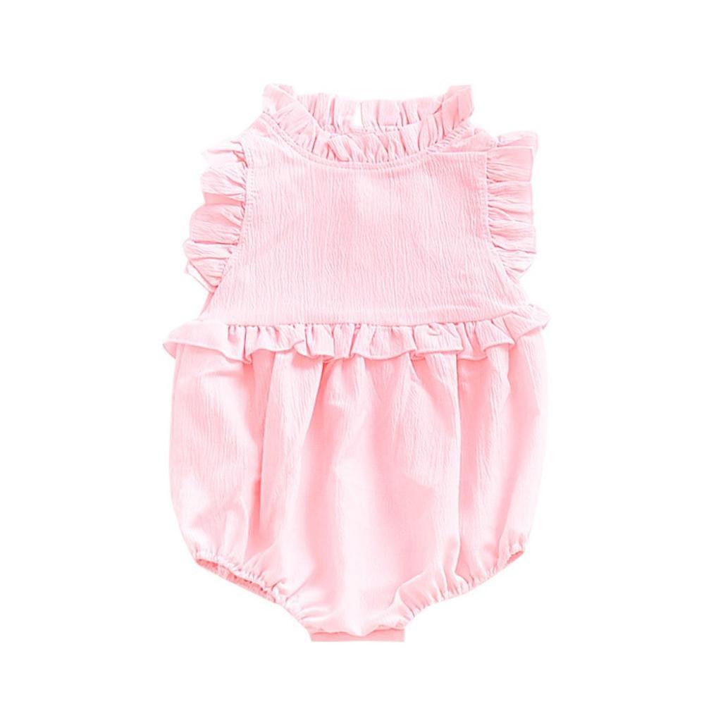 CHshe Baby Romper, Newborn Toddler Girls Ruffled Sleeveless Chiffon Romper for 0-18 Months