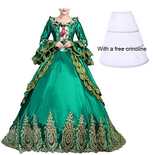 Satin Damen Kleid Cc2367d Maxi Kostüm Viktorianisches Nuoqi Gothic Renaissance Ugw1Wzq