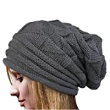 Fashion Women Winter Keep warm Crochet Hat Wool Knit pattern Beanie Warm Caps (Grey)