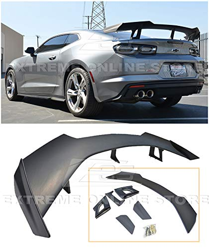 Replacement For 2016-Present Chevrolet Camaro ALL Models | ZL1 1LE Style ABS Plastic Primer Black Rear Trunk Lid Wing Spoiler