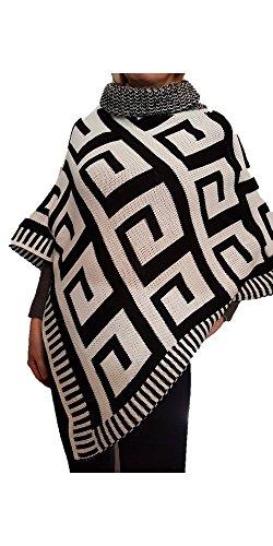 poncho alto caldo coprispalle nero donna inverno collo triangolo mantella Bianco a e qwxr7F6fqg