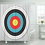 TOMPOP Shower Curtain Blue Hunting Target for Archery on Red Accuracy Accurate Waterproof Polyester Fabric 72 x 78 Inches Set with Hooks