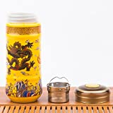 Super versatile airtight Double Porcelain Wall Insulated tea coffee travel mug tumbler with lid and Stainless Steel Infuser ft. Chinese Golden Yellow Emperor Dragon. tea cup, mason jar
