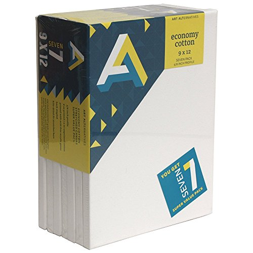 Art Alternatives stretched  White Canvas Super Value Pack-9 x 12 inches-Pack of 7 ()