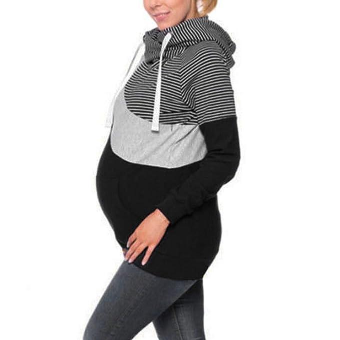 STRIR Sudaderas Lactancia Maternidad Sudadera Mujer Capucha Top Mujeres Camiseta de Lactancia Premamá Camisetas (S