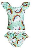 KABETY Girls Rainbow Unicorn Swimsuit Two Pieces Swimwear Bathing Suit Bikinis (Green, 3T)