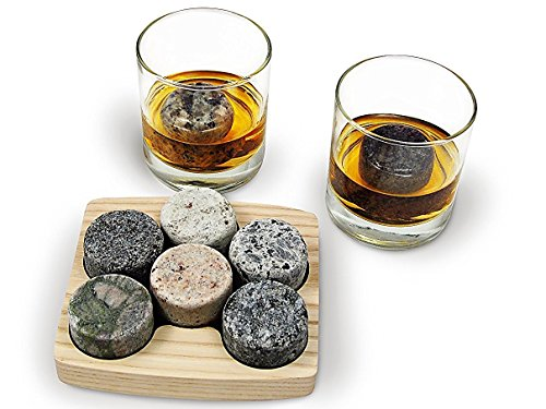 Sea Stones On the Rocks Granite 6-Piece Whiskey Chilling Stones Set with Two 10-Ounce Tumblers and...